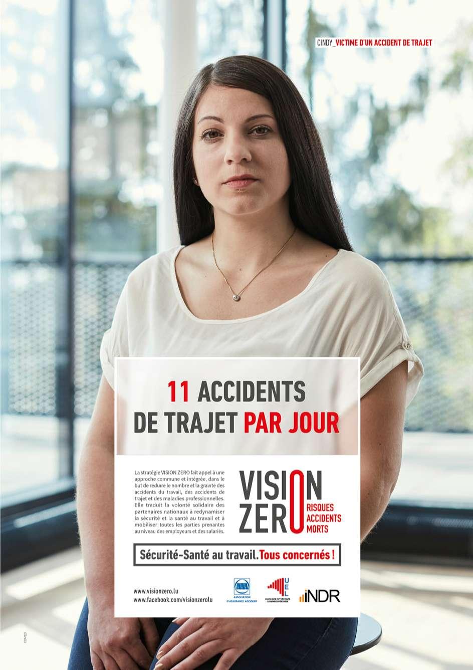 Annonce de la campagne Vision 0 montrant le nombre d'accidents par jour dans les trajets domicile-travail au Luxembourg