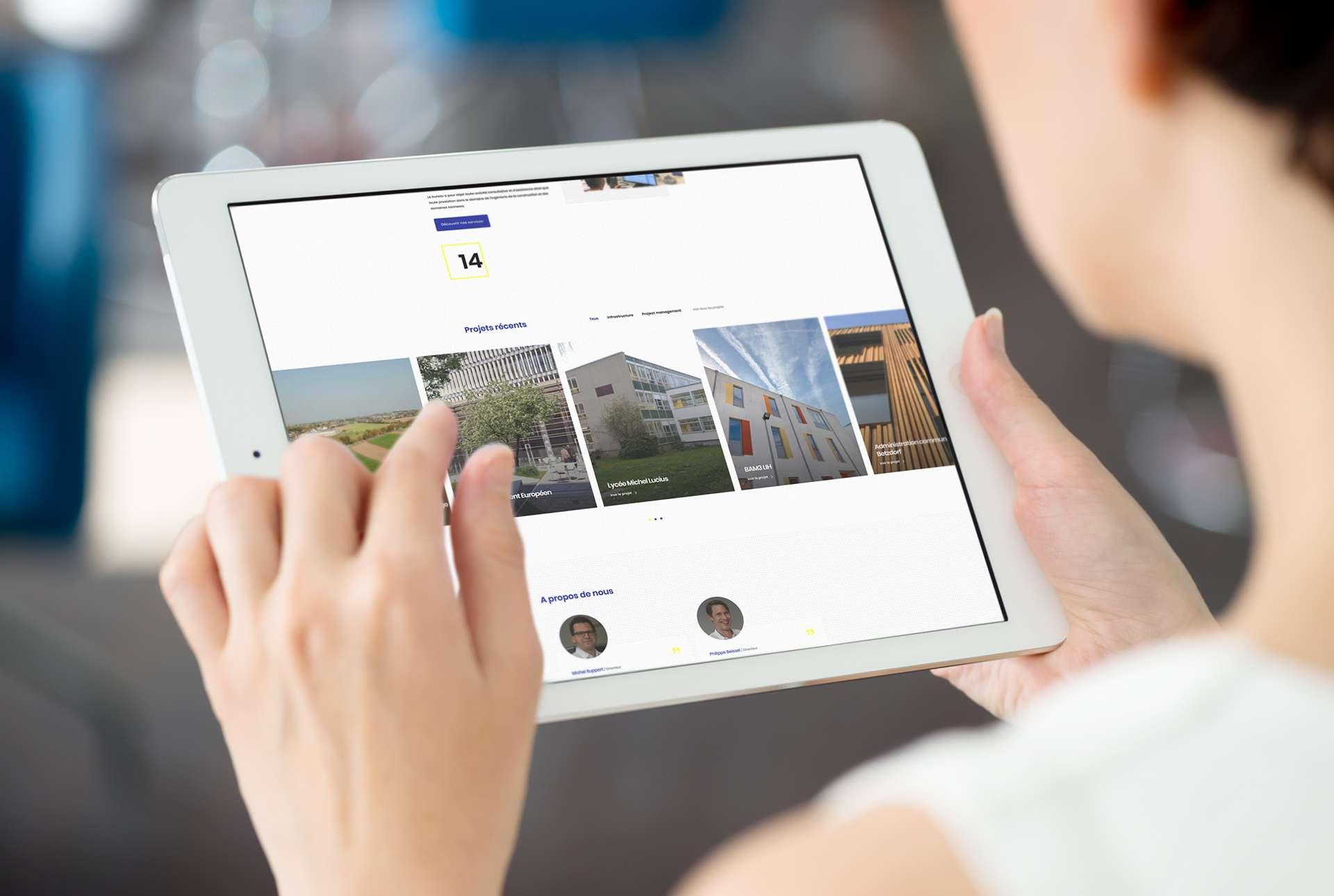 Affichage du site web brec.lu sur tablette