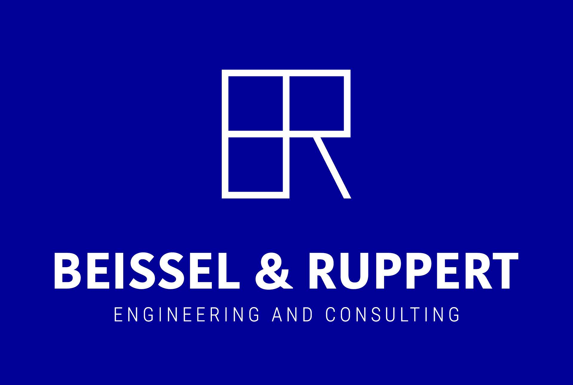 identité visuelle de Beissel & Ruppert, logo composé d'un pictogramme et du nom de la société sur fond bleu, la couleur corporate de la société