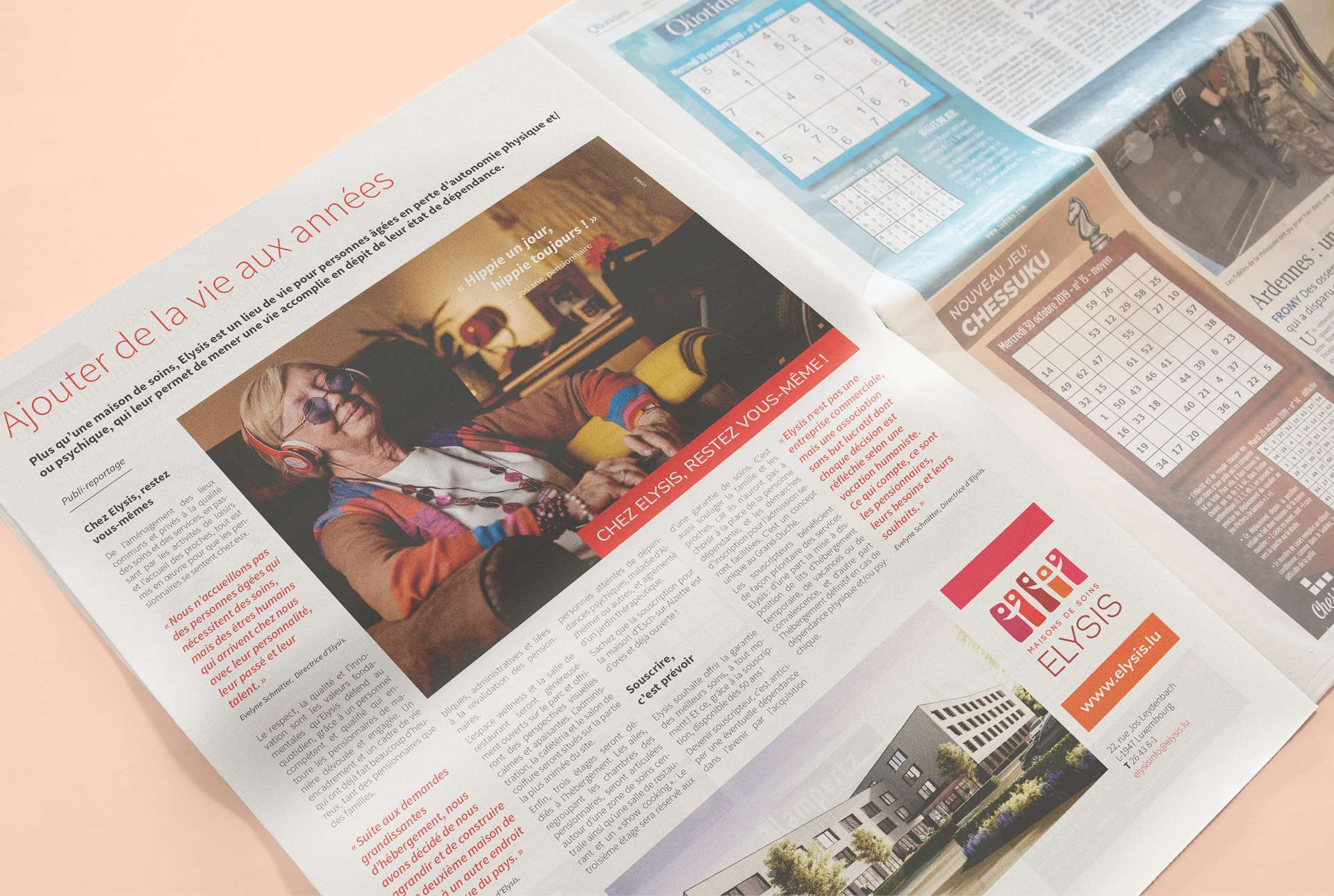 Publicité dans la presse papier au Luxembourg pour la campagne de souscription Elysis