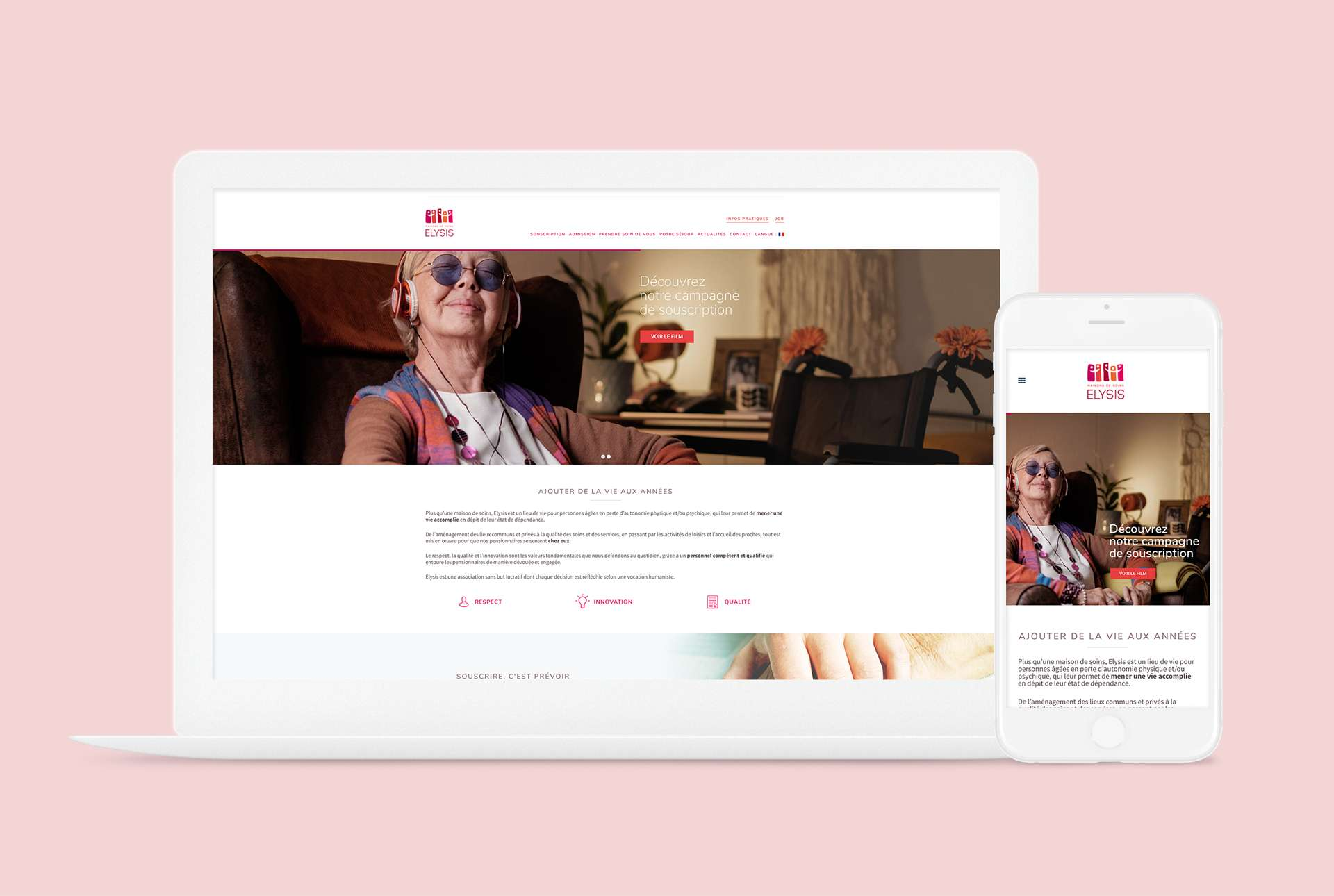 Mise à jour du site internet d'Elysis avec les visuels réalisés pour la campagne de souscription d'Elysis