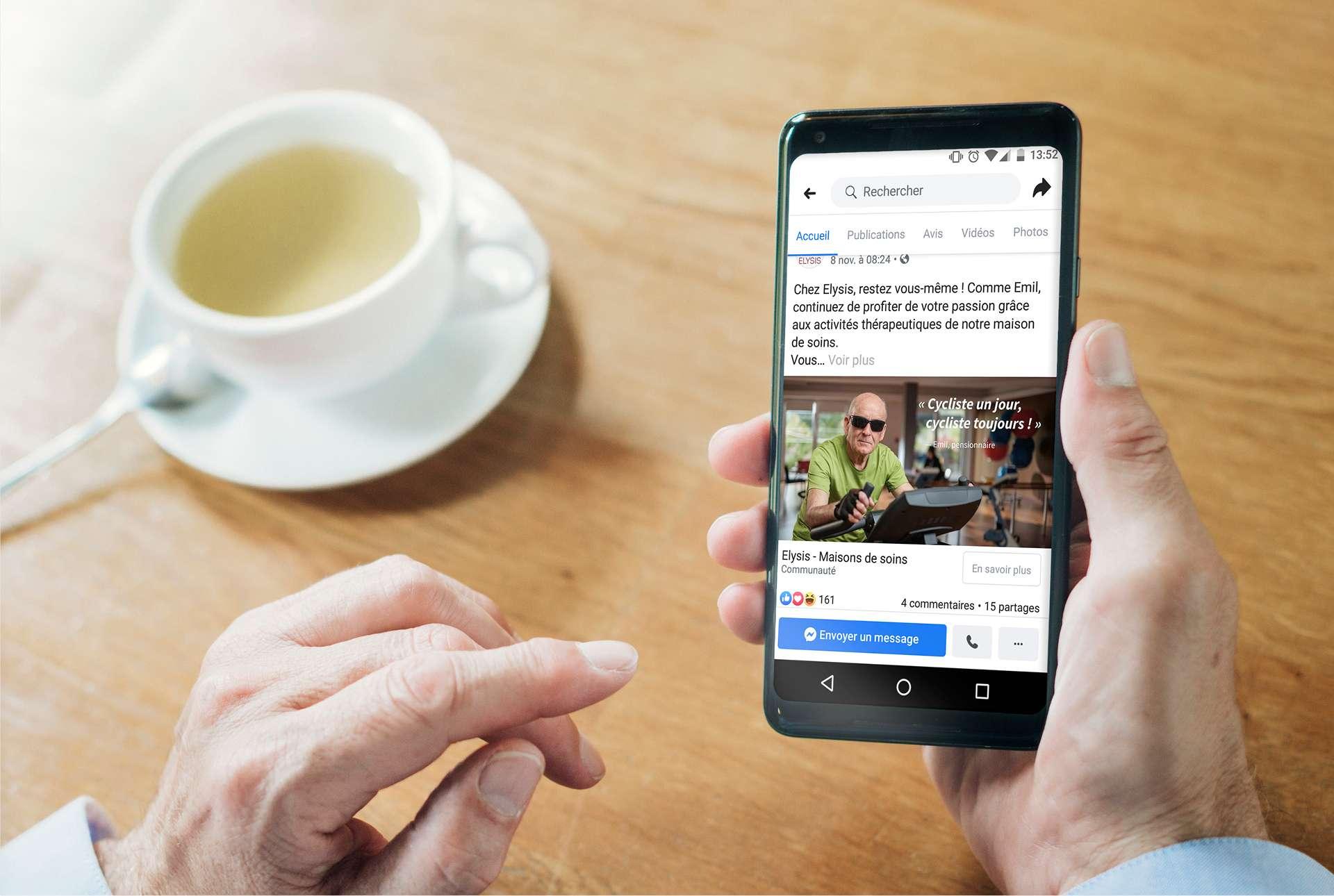 Campagne de publicité Social Média (ici Facebook) pour la campagne de souscription à la maison de soin Elysis au Luxembourg