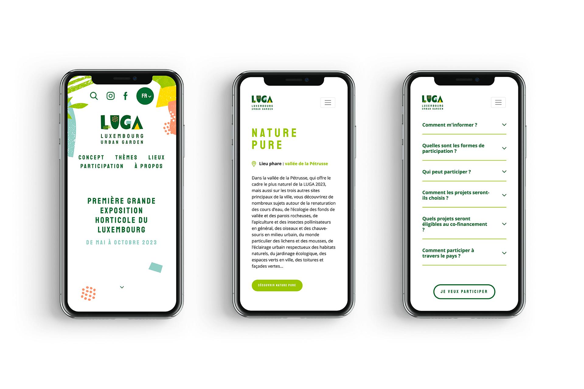 Affichage sur smartphone du site internet de LUGA