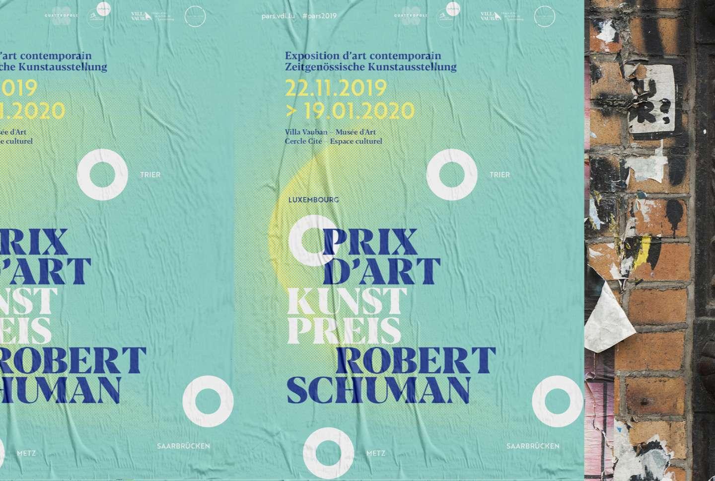 Affiches pour l'exposition d'art contemporain et la remise du Prix d'Art Robert Schuman par Comed