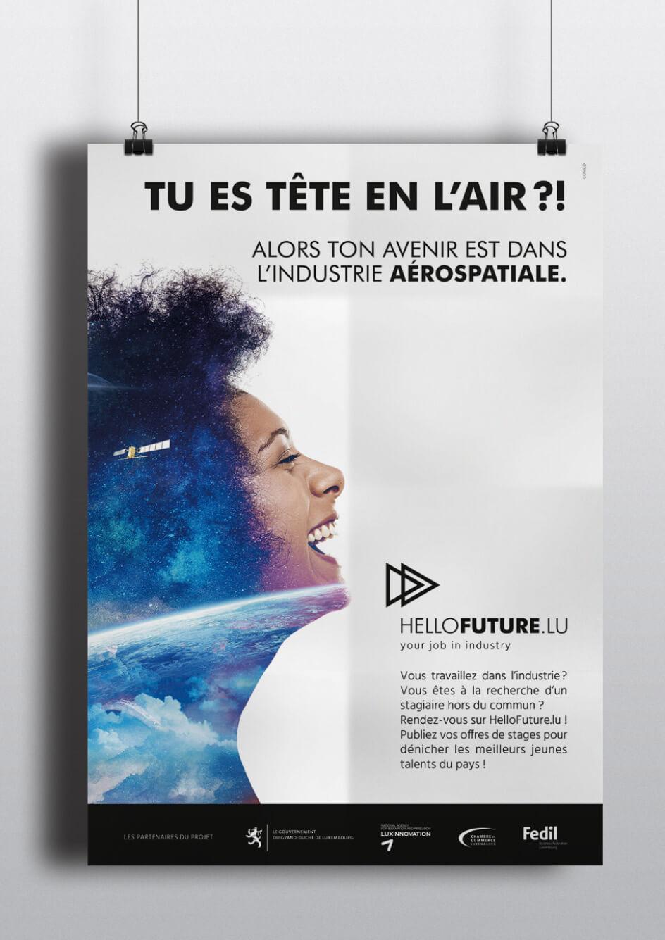 Affiche réalisée par l'agence Comed pour promouvoir les métiers de l'industrie aérospatiale
