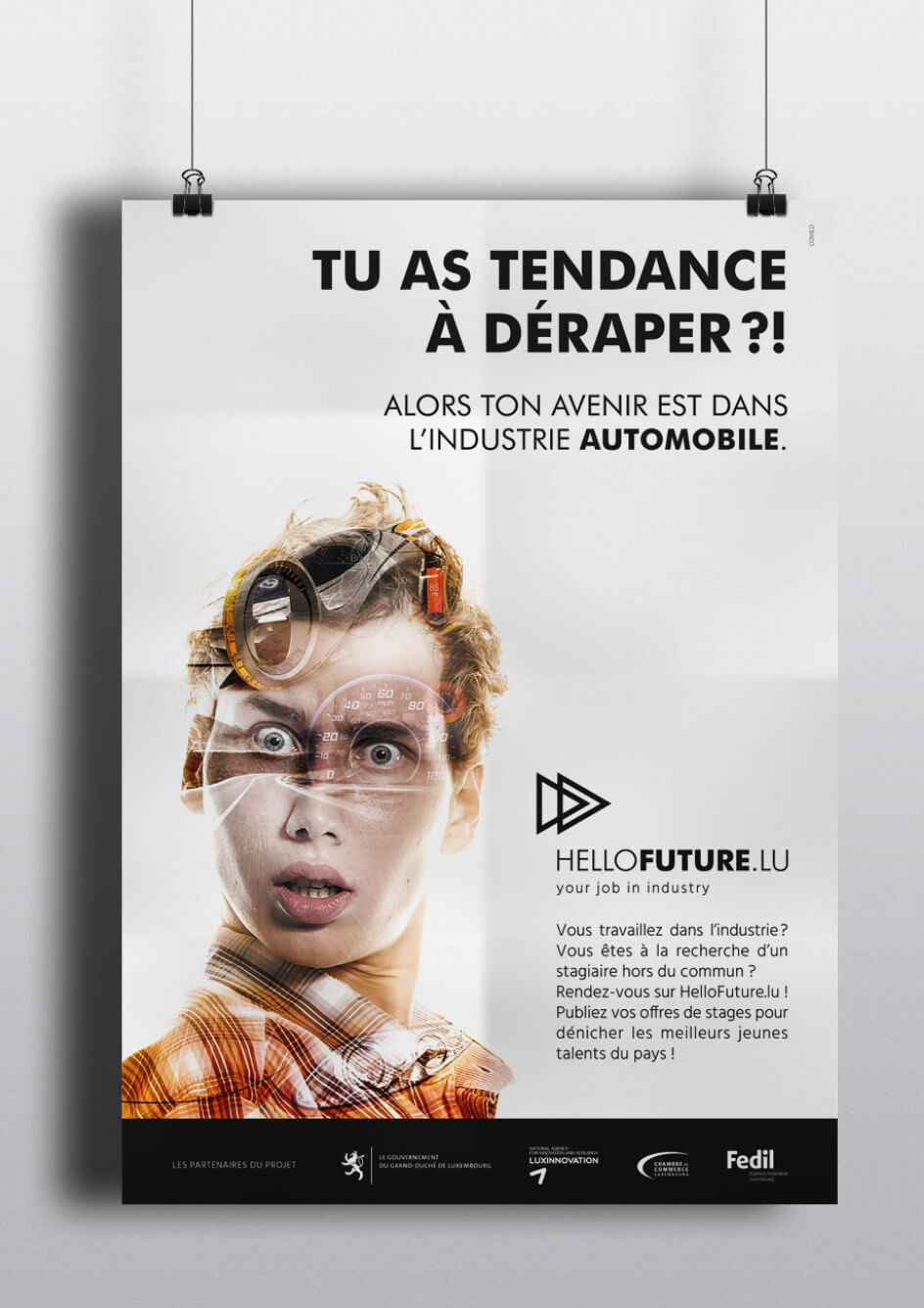 Réalisation d'une affiche pour promouvoir les métiers de l'industrie automobile pour les jeunes à partir de 14 ans