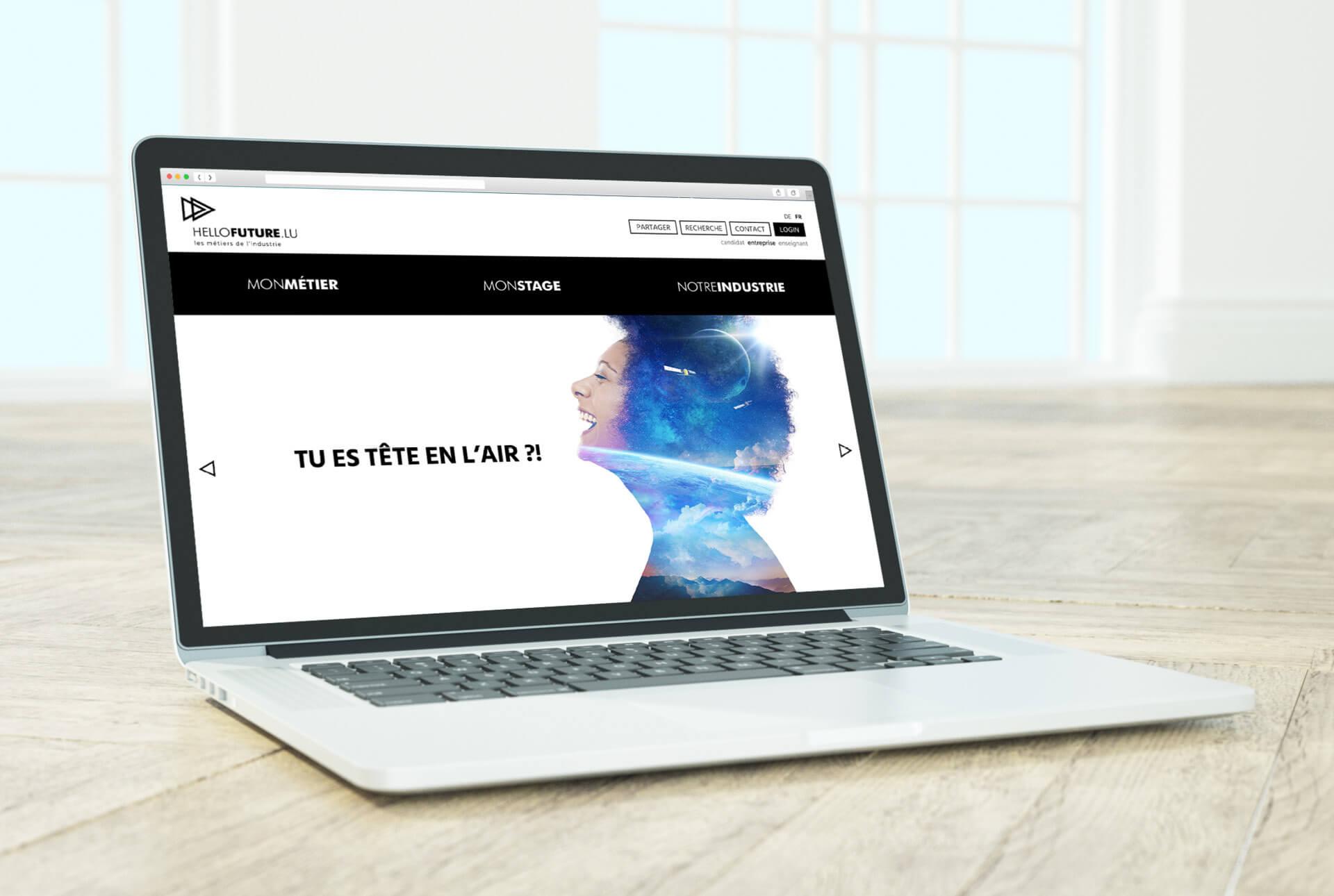 Site internet de la campagne hellofuture.lu. Il accompagne le concept de promotion des métiers de l'industrie