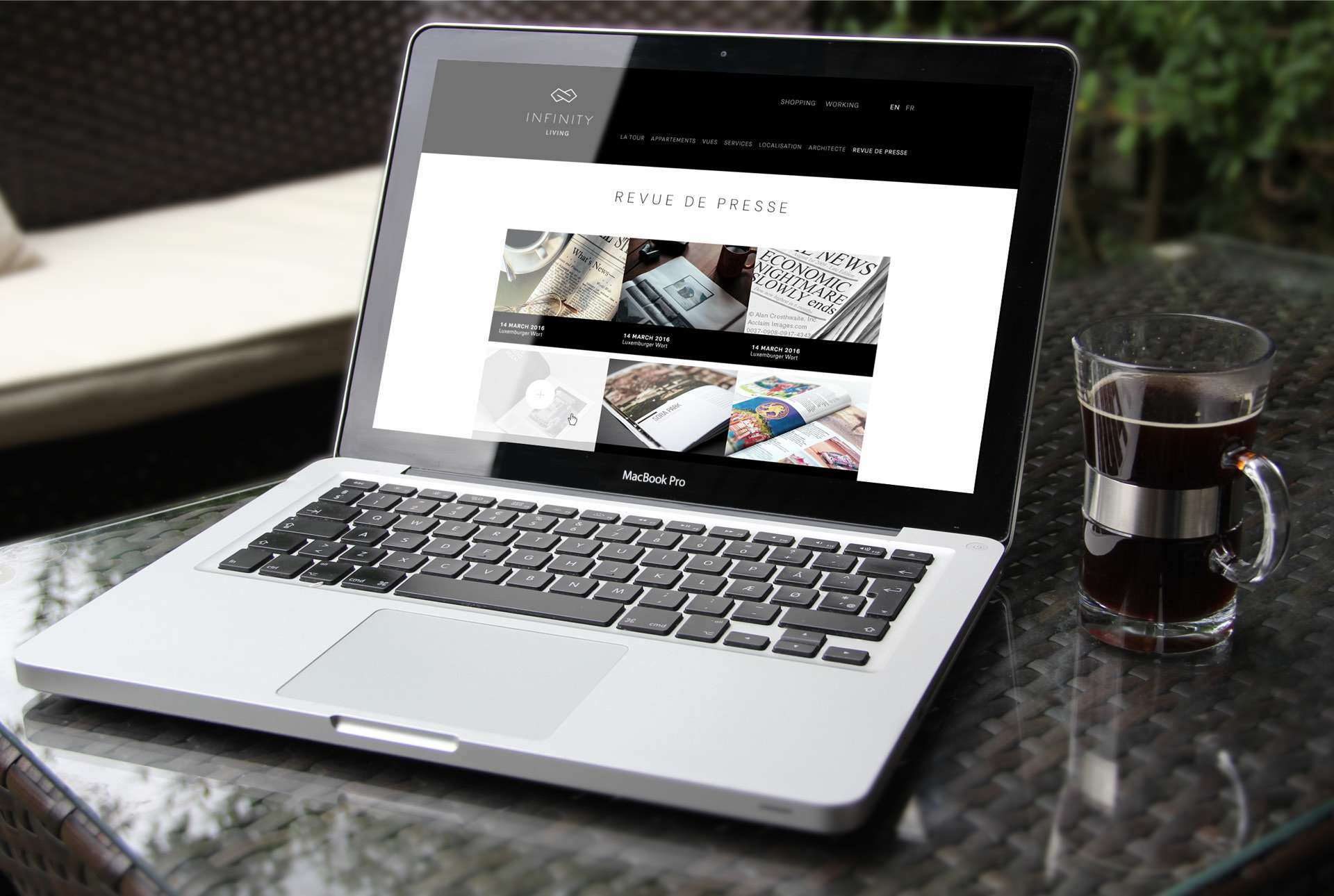 Site internet du projet Infinity réalisé en responsive design par l'agence de communication et marketing Comed