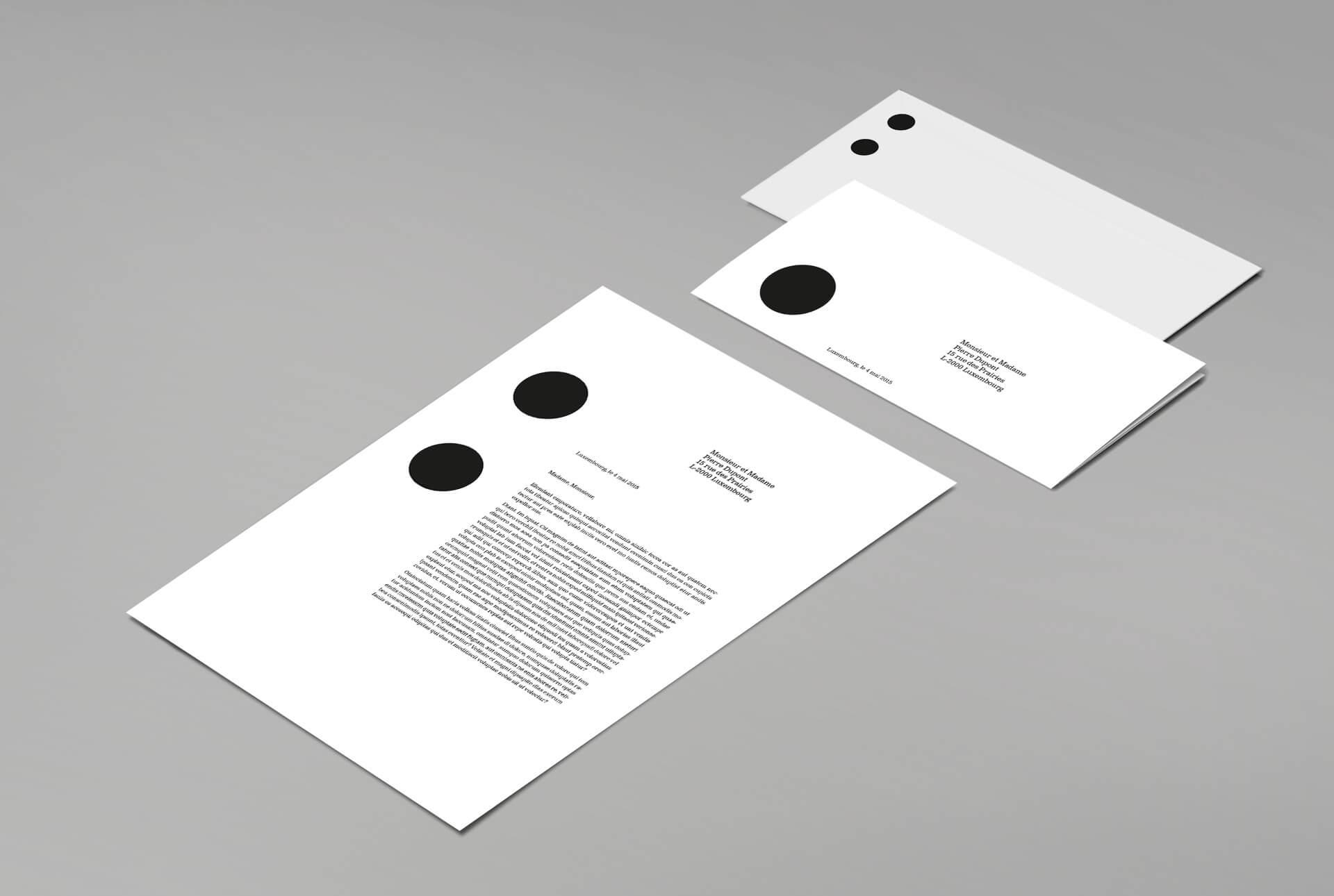Papeterie des Rotondes - Entêtes de lettres, feuilles de suite et enveloppes, un corporate global signé Comed