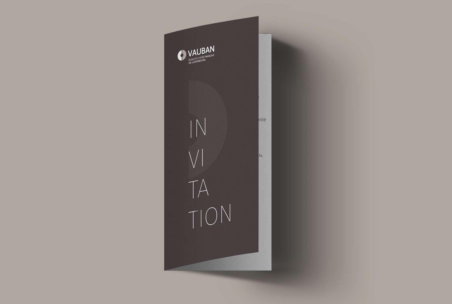 Invitation réalisée dans le cadre de la refonte de l'identité visuelle de Vauban