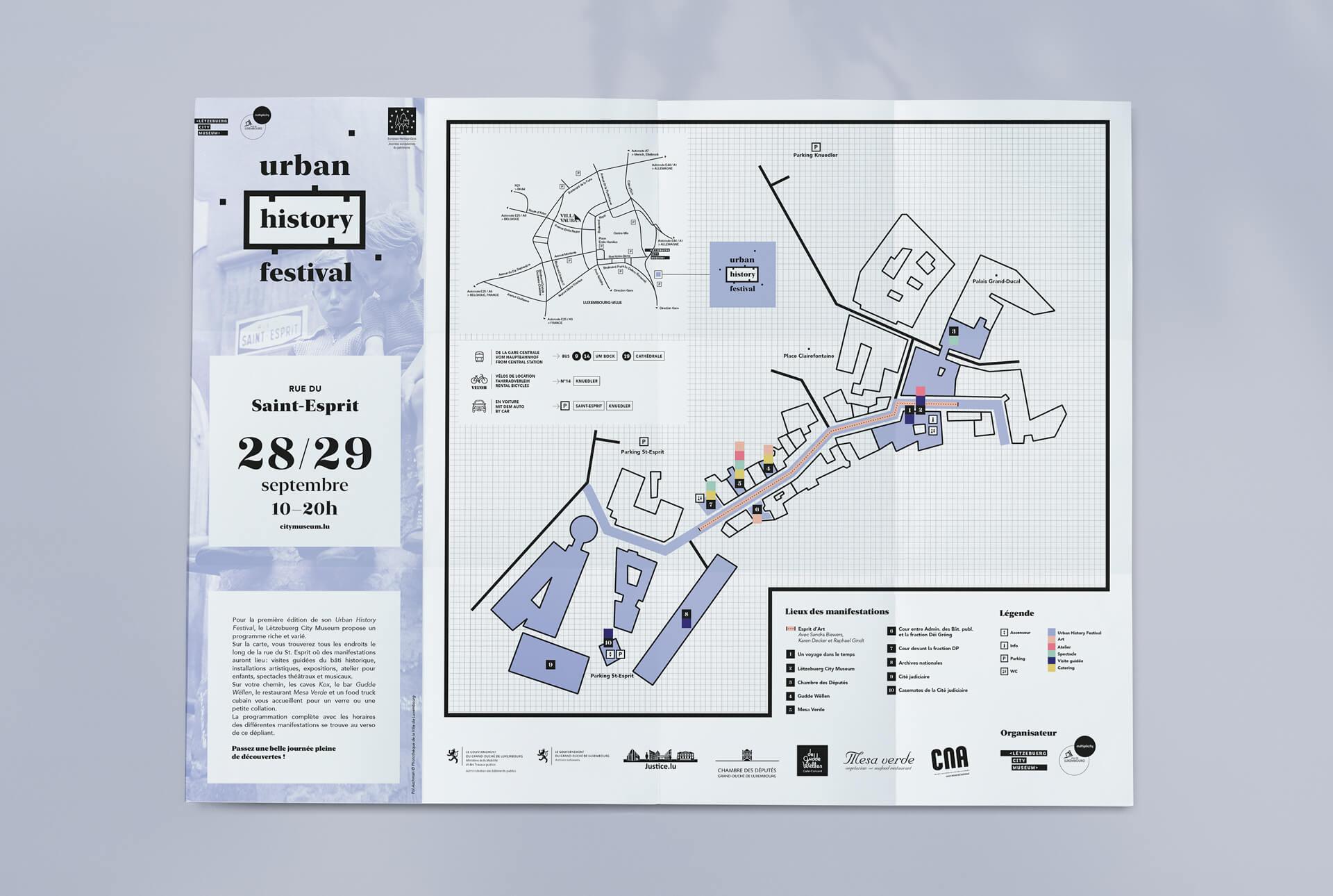 Dépliant conçu pour guider les visiteurs lors de l'Urban History Festival au Luxembourg