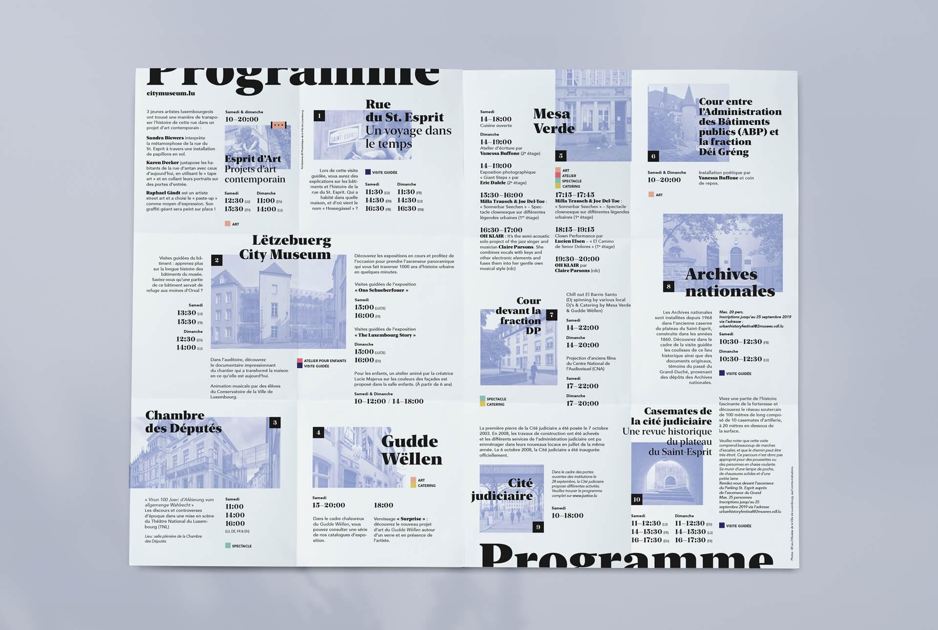 Programme de l'Urban History Festival au Luxembourg, un design signé par l'agence de communication Comed