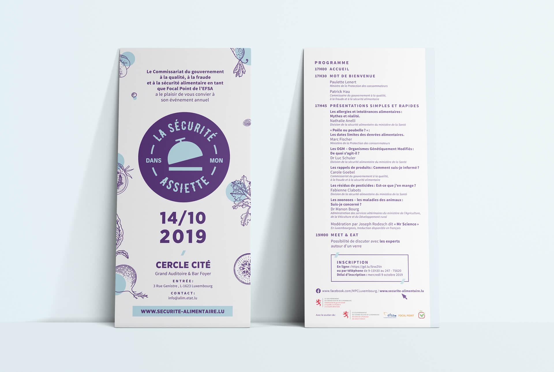 """programme de l'événement """"La sécurité dans mon assiette"""", un design signé Comed"""