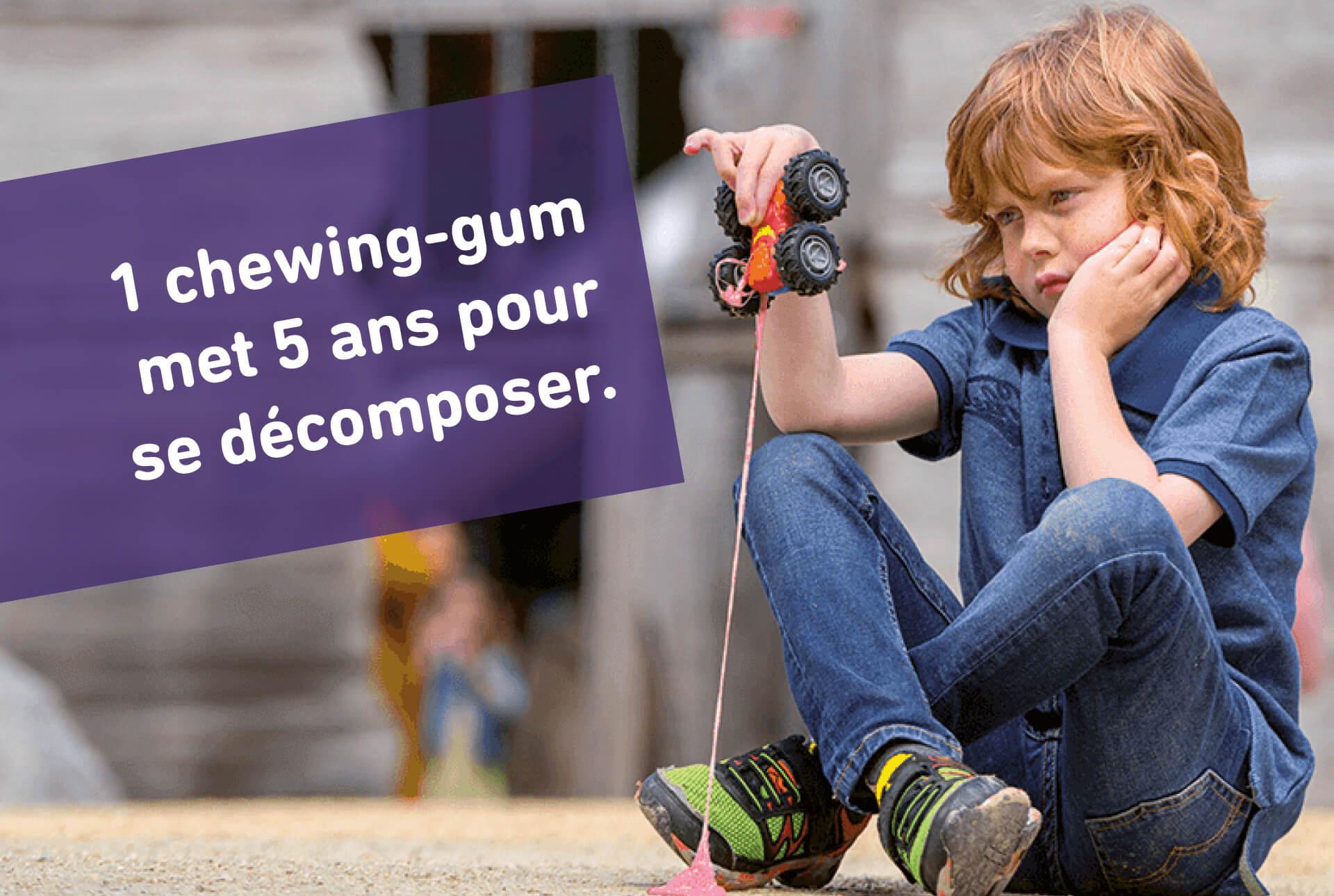 Visuel de la campagne anti-littering de la ville de Luxembourg informant sur la durée de vie d'un chewing-gum