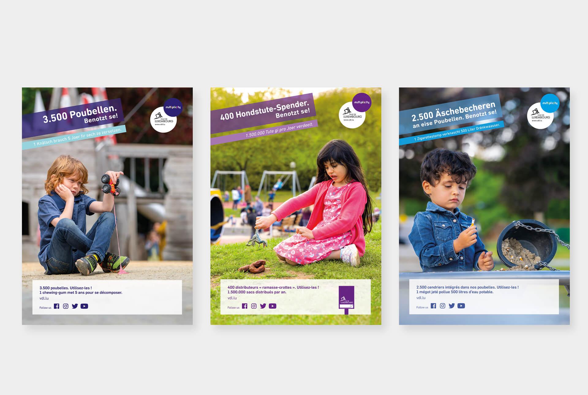 Affiches de la campagne anti-littering développée par le studio graphique Comed pour la ville de Luxembourg